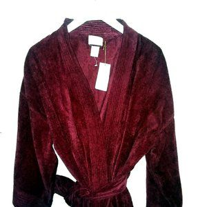 Bill Blass Royal Cotton Terry Velour Red Robe NWT